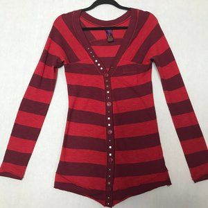Free People Women's Red Striped Studded Sweater Sm